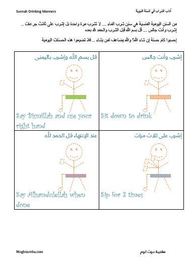 سنن الشراب - إطبعوها وإلصقوها على الثلاجة أو مبرد الماء مثلا Drinking manners in Islam.. print and put on your fridge.