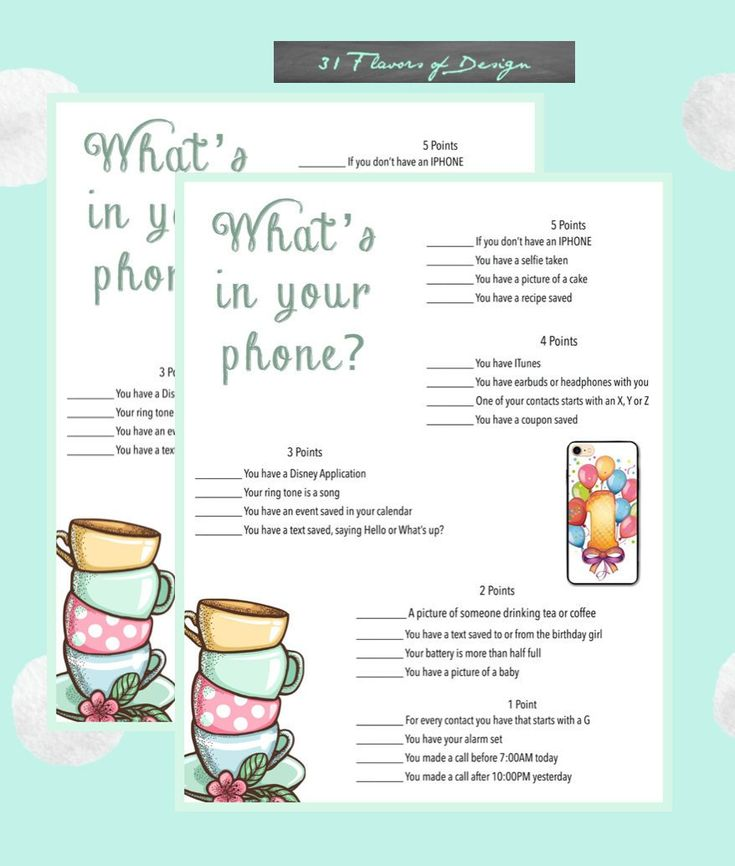 1st Birthday Party Game Whats in your phoneBirthday