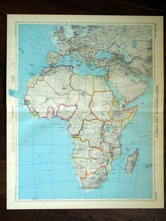 This is a vintage poster-sized map of the Mediterranean and Africa. Printed in the UK in 1958. The full map is shown in the first photo. Other