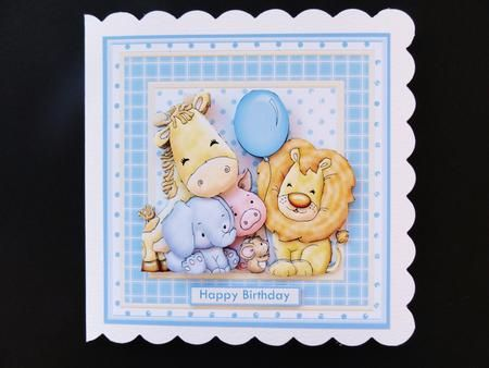 ANIMAL CREW Baby Boy or Birthday Mini Kit With Ages on Craftsuprint designed by Janet Briggs - made by Valerie Spowart