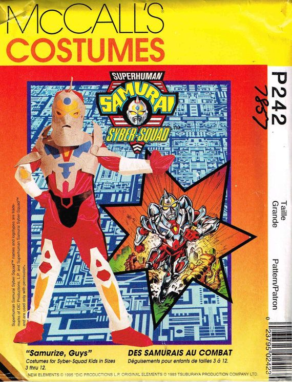Child Superhuman Samurai Syber Squad Japanese Robot Halloween Costume McCalls 7857 P242 Sewing Pattern DIY by PeoplePackages