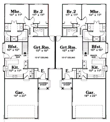 Traditional Multi Family Plan 68713 Traditional Floor