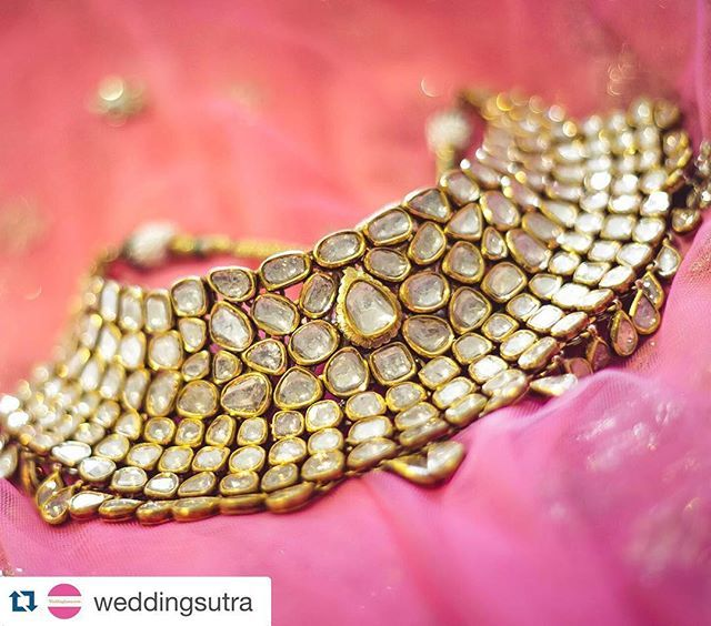 @weddingsutra featuring exquisite necklace studded with #uncut #diamonds from…