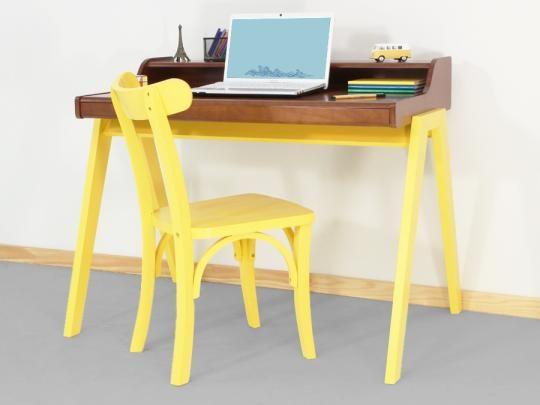 Escrivaninha Zoe - Amarelo Canário e Caramelo