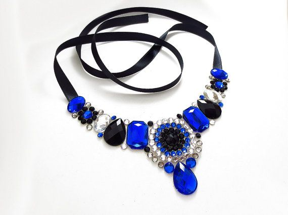 elegant rhinestone necklace royal blue black by