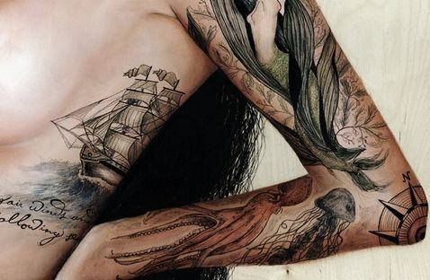 I would consider this a tattoo worth the pain.Tattoo Ideas, Ocean Theme, Sea Creatures, Art, Nautical Tattoo, Ships, Sea Tattoo, Nautical Theme, Ink