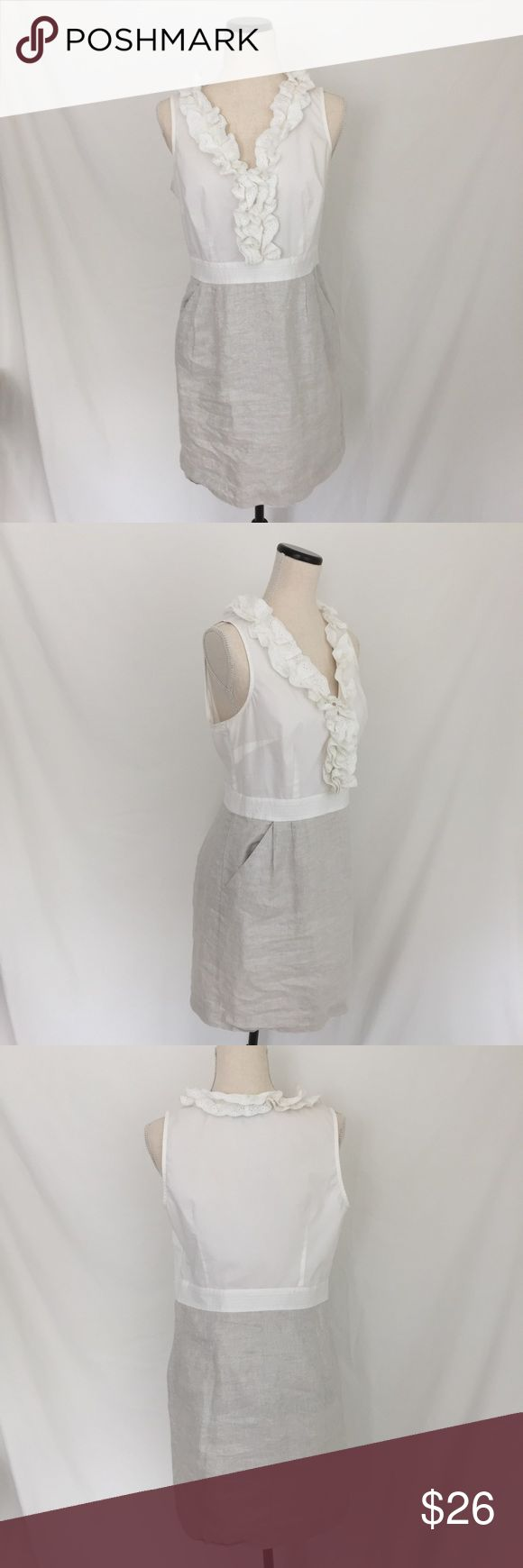 Ann Taylor Loft Dress 12P Lined Silver Thread Sleeveless white ruffled top, side zipper, silver threaded bottom with front pleats & pockets, linen lining on bottom: P107 Ann Taylor Loft Dresses Strapless