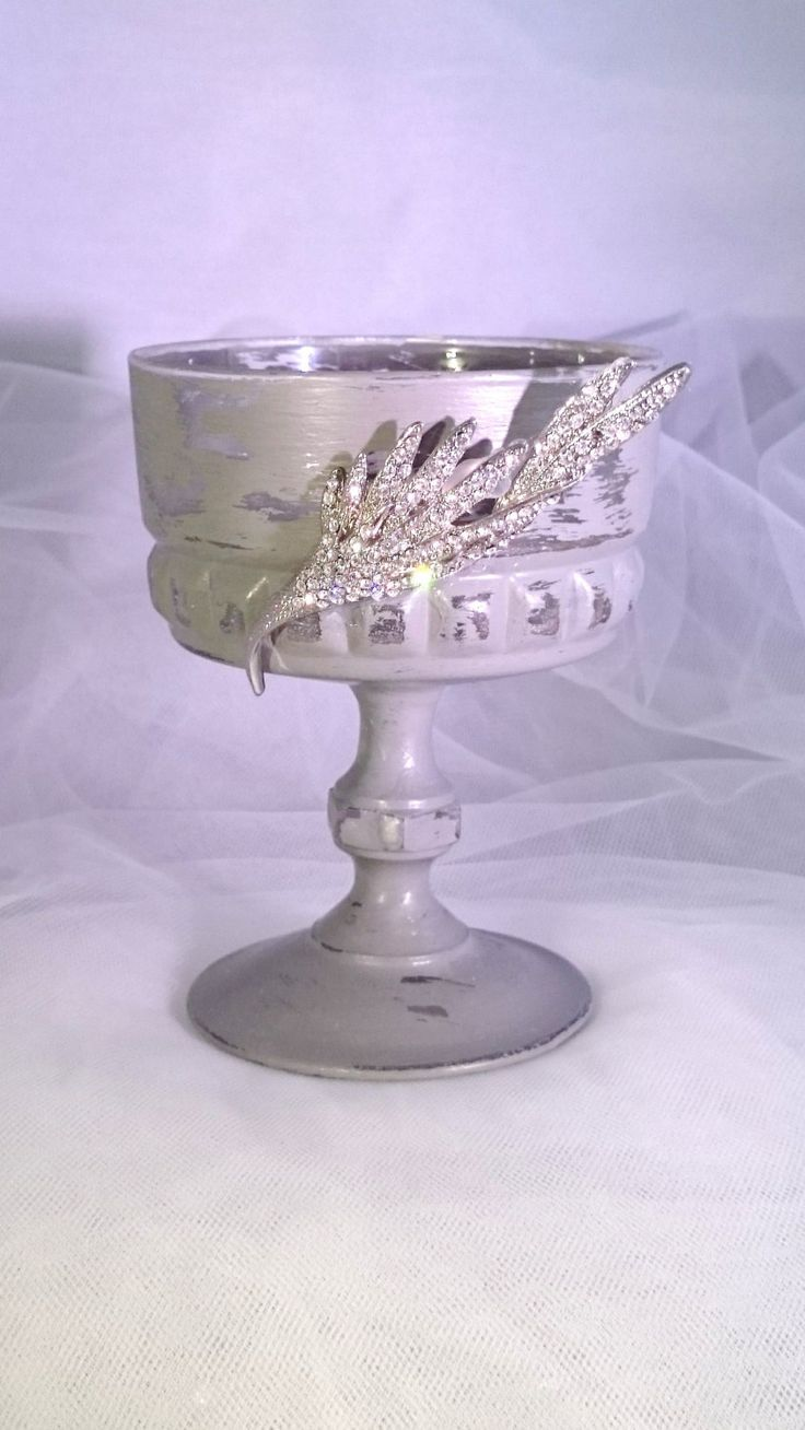Candle Holder Vintage Glass Desert Stemmed Sundae Dish Diamante Wedding Candle…