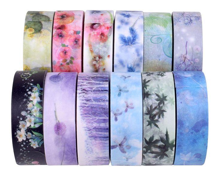 Amazon.com: Custom Made Washi Tape Craft Washi Tapes Designed Paper Tape Set of 12 Flower