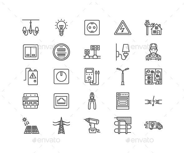 Electricity Line Icons Line Icon Icon Technology Icon
