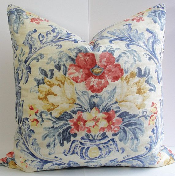 KRAVET EURO SHAM Pierre Deux European Decorative Designer Pillow Cover French Country  Blue  red throw pillow Floral vase weathered colors