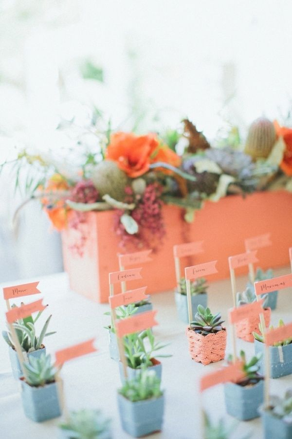 Could these be any more perfectly miniature and adorable? Peach table plan accessories!
