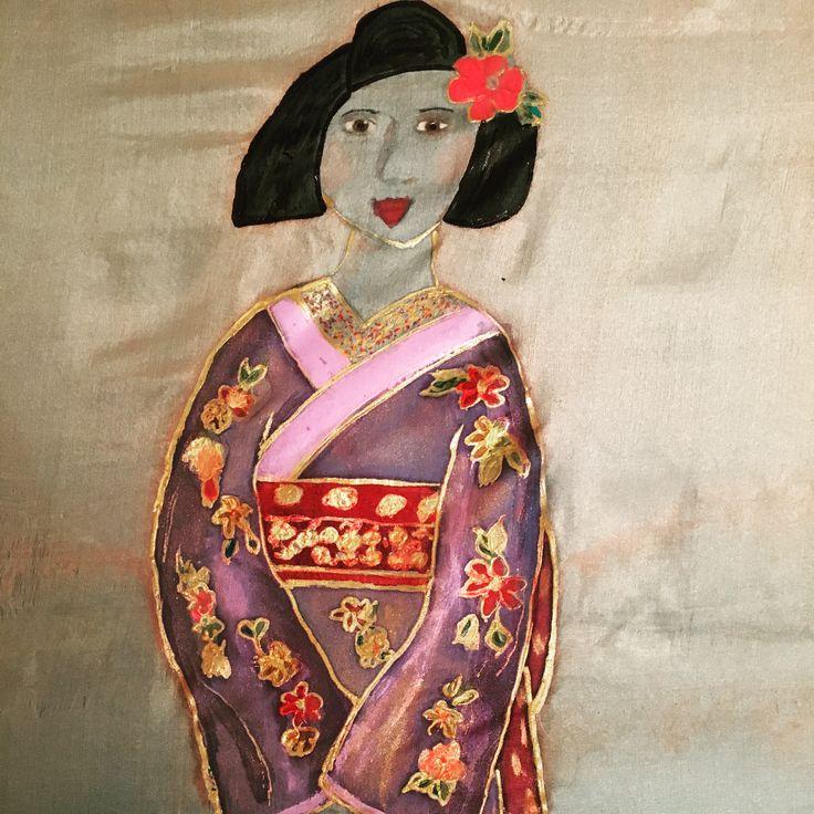 Geisha in Autumn Colours handpainted on silk