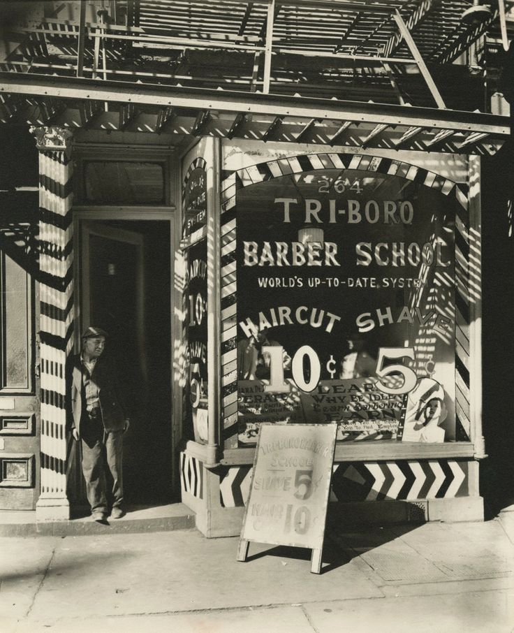 Berenice Abbott - Tri-Boro Barber School, 264 Bowery ~ Gelatin silver print, c.1935| From a unique collection of photography at http://www.1stdibs.com/art/photography/