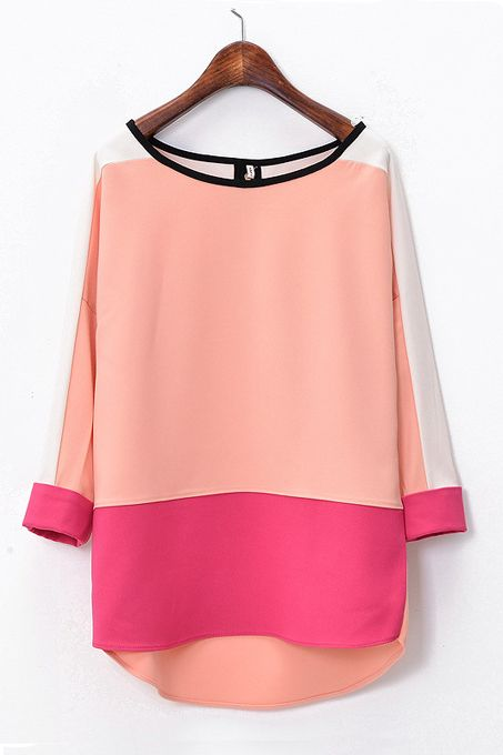 Constrast Color Chiffon T-shirt