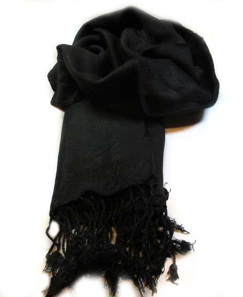 Pashmina sjaal Zwart www.beadscreations.nl