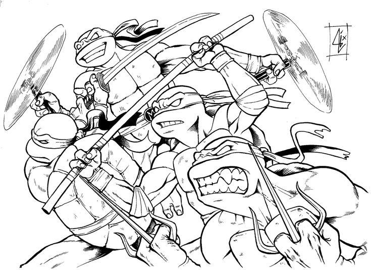 Pintar Tortugas Ninja. Excellent Las Tortugas Ninja Mutantes Dibujo ...