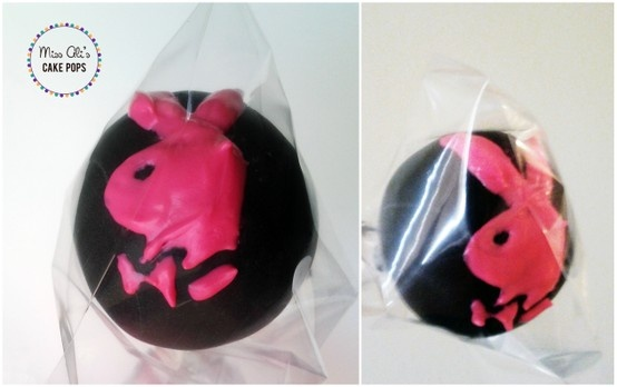 Playboy Cake Design : Pink and Black Playboy Bunny Cake Pops Miss Ali s Cake ...