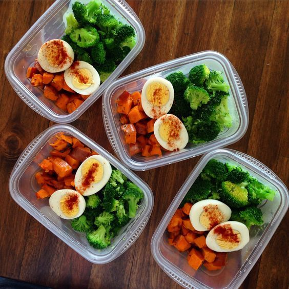 An easy meal prep idea for a week full of healthy lunches. Start with roasted sweet potatoes, steamed broccoli and two hard-boiled eggs for a complete meal.