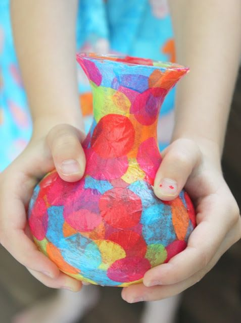 Mother's Day: Kids will have fun making this easy mod podge vase and it makes a beautiful gift.