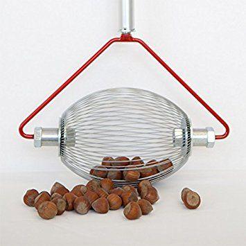 Haselnuss-Sammler - (mit Holz- Stab) der Roll-Blitz , die kleinste Obstaufsammelmaschine der Welt direkt vom Hersteller für Haselnüsse, Oliven uvm (small) Silber: Amazon.de: Garten