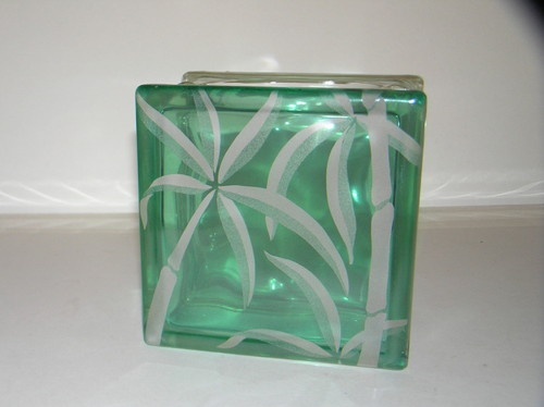 Vintage Hawaiian Etched Tinted Glass Block Vase Frank Oda