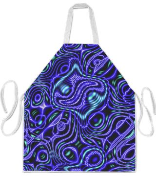 Warped Dark Blue Apron by Terrella.  A warped pattern of curves and swirls.  This is the blue version.