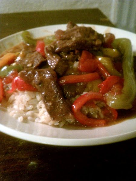 """Pepper Steak!  """"It was a delicous and easy recipe"""" Used olive oil instead of margarine. Old Bay instead of paprika. Poblano pepper instead of green for a slight kick. Also, sauteed onions and peppers BEFORE garlic (it's the rule). Otherwise, a great recipe!"""