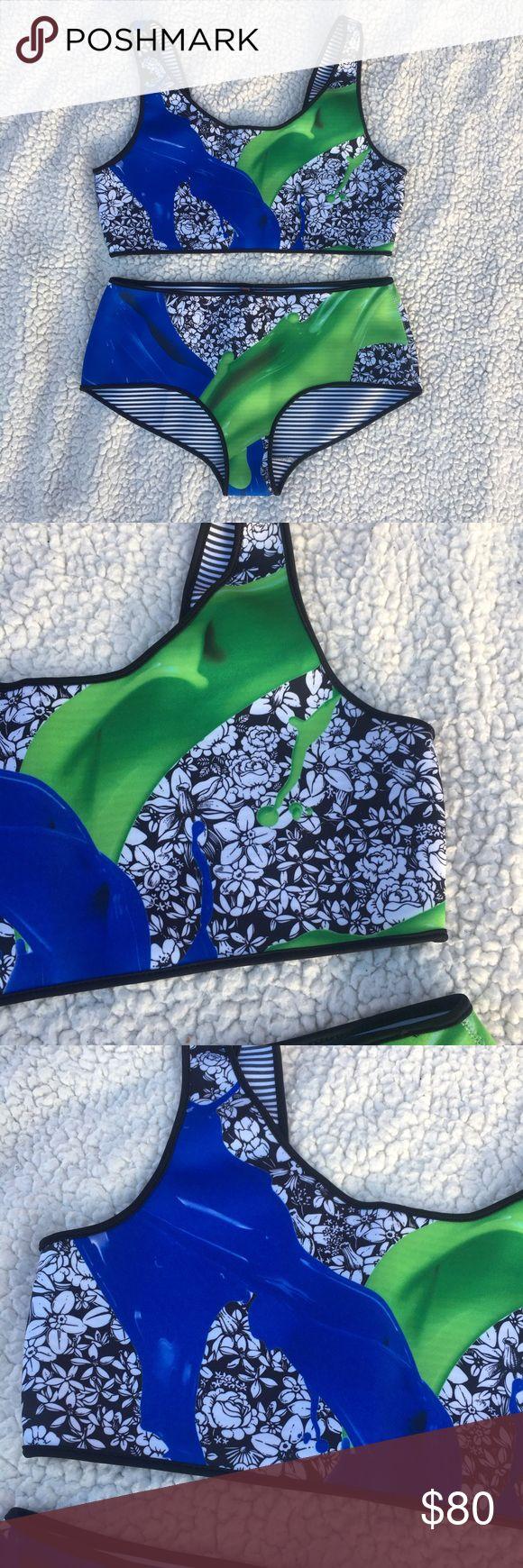 NWT Clover Canyon Blue and Green Floral Bikini Absolutely beautiful Clover Canyon bikini. NWT. Size Large. Clover Canyon Swim Bikinis