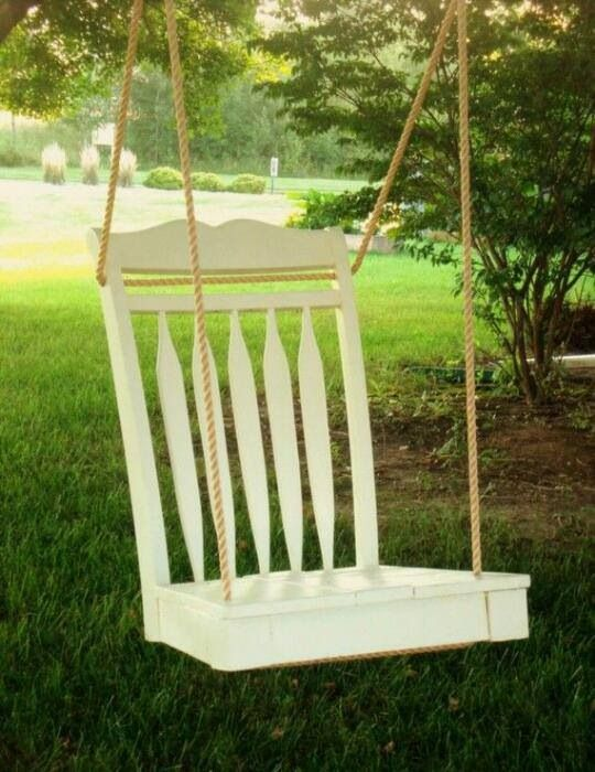 Cute DIY swing from an old chair