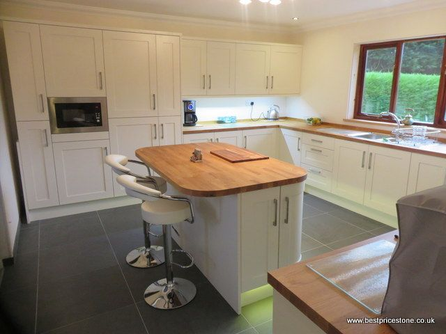 Brazilian Grey Green Slate in a cream and oak kitchen - very nice indeed!