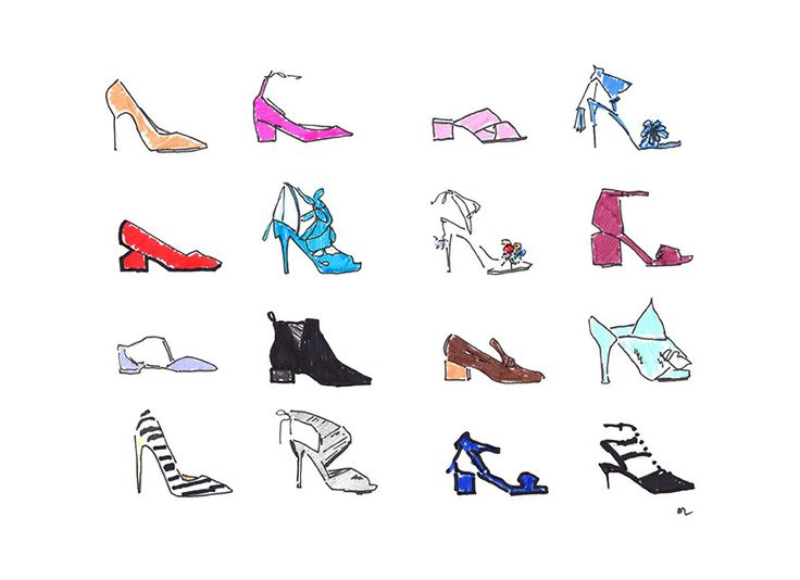 FREE SHIPPING* Fashion illustration print Shoe Kingdom by akvileles on Etsy Wall art, wall decor, chic fashion art, ss16 trends