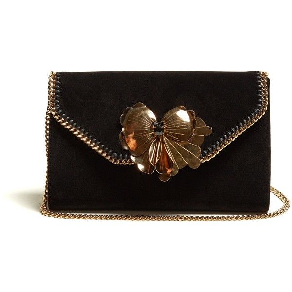 Stella McCartney Falabella Box velvet clutch ($1,310) ❤ liked on Polyvore featuring bags, handbags, clutches, black gold, stella mccartney purse, flower clutches, hardcase clutch, box clutch and flower purse