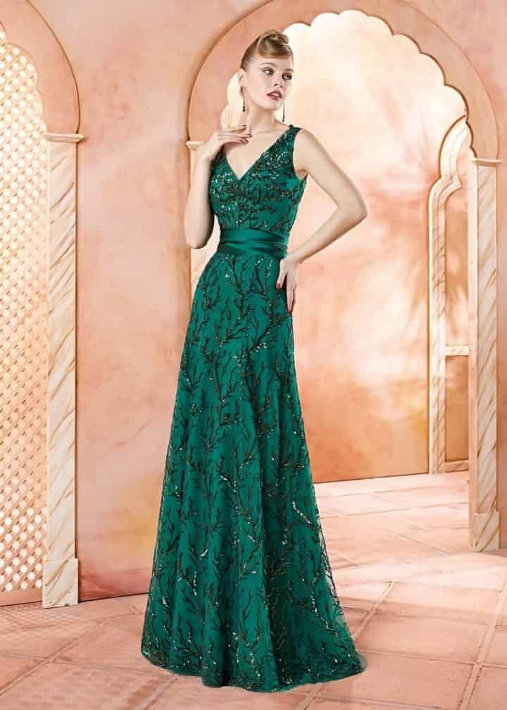 VL4707, Valerio Luna - vestido largo fiesta en verde
