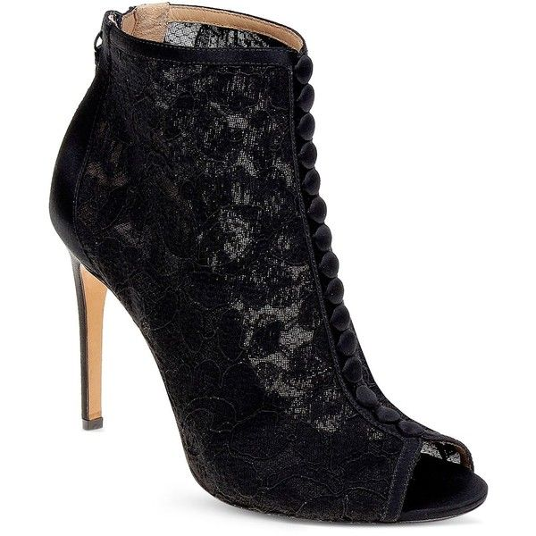 Badgley Mischka Nerina Lace Mesh Peep Toe Booties ($210) ❤ liked on Polyvore featuring shoes, black, victorian shoes, black lace shoes, peeptoe shoes, black mesh shoes and kohl shoes