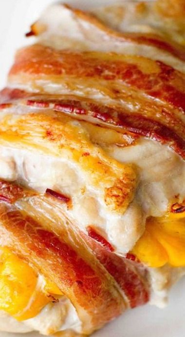Cheddar and Pepper Stuffed Bacon Wrapped Chicken ~ moist, easy and delicious!