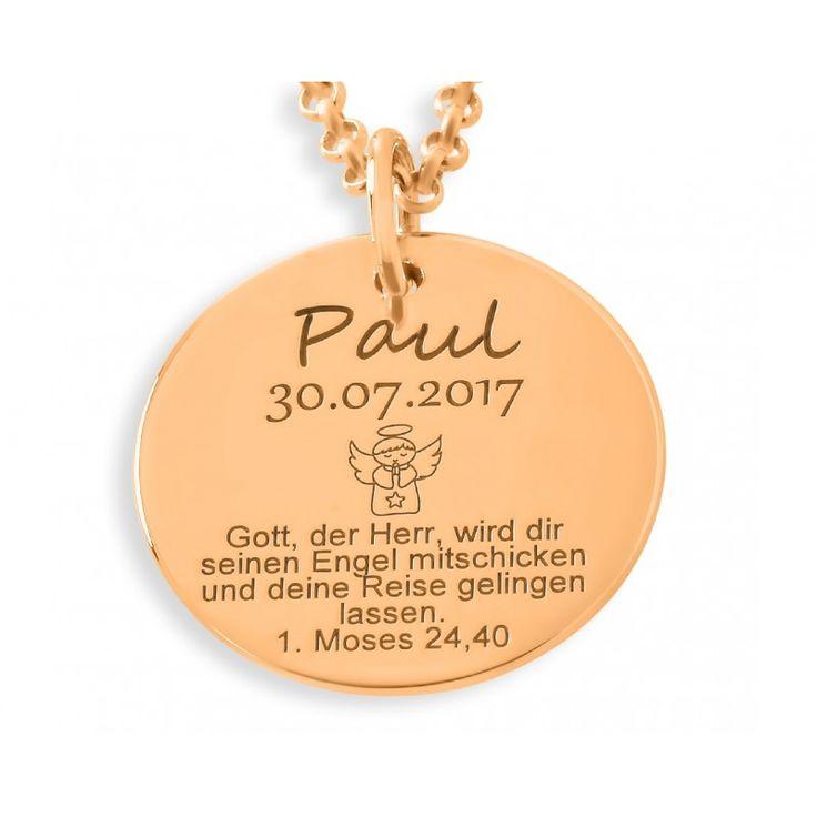 Taufkette aus 925 Sterling Silber in Juwelierqualität hochwertig rosé vergoldet. Das ca. 1,7 cm große Plättchen wird mit Ihren Wunschdaten bzw. Wunschtext designed.