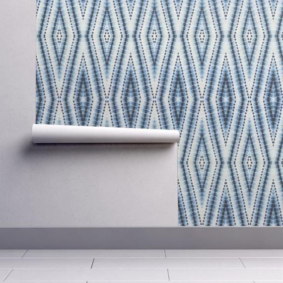 Shibori Wallpaper Shibori Diamond Blue By Pricedesigns Etsy Self Adhesive Wallpaper Drawer And Shelf Liners Quick Decor