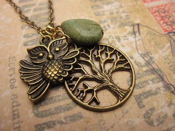Cute Owl on a tree a charm necklace with by trinketsforkeeps, $9.00