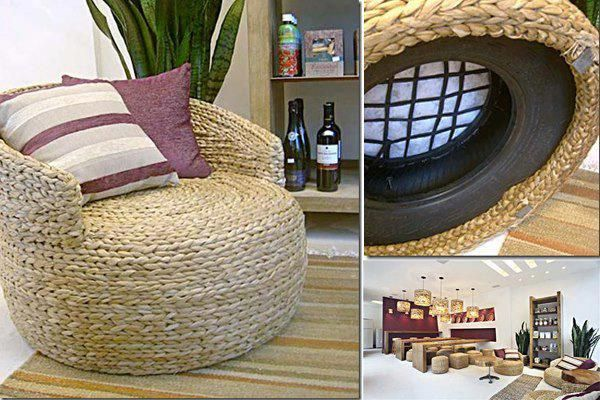 Ottoman made out of old tires and plastic bags shut up for How to make tire furniture