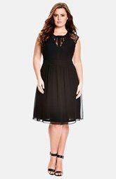 City Chic 'Dark Romance' Lace Detail Dress (Plus Size)