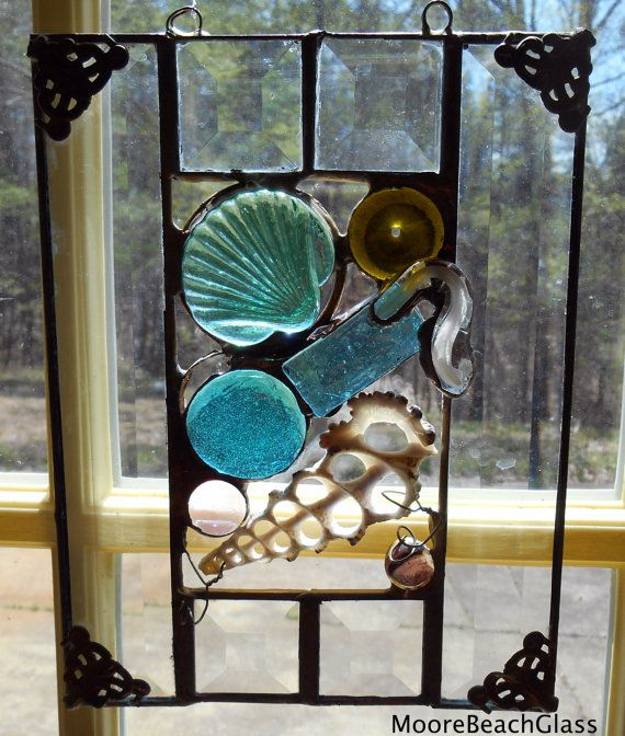 Stained glass beach theme panel by MooreBeachGlass
