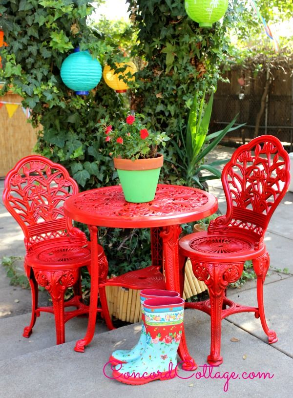 Outdoor Bistro Set Spray Paint Makeover. I did this too with an 8 piece set that was RUSTED! It looks so wonderful now. Everyone comments on it! Ours is painted in seaside blue with the side tables in some complementary accent colors. ~RMK