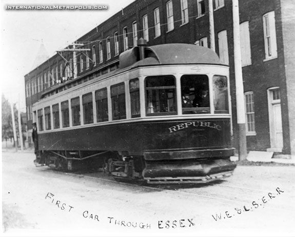 The First car on the Windsor and Essex County interurban railway line, completed as far into the county as Leamington by April 1908.