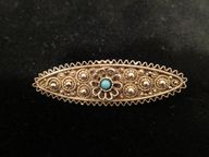 Vintage Silver Filigree Pin with Turquoise, $25