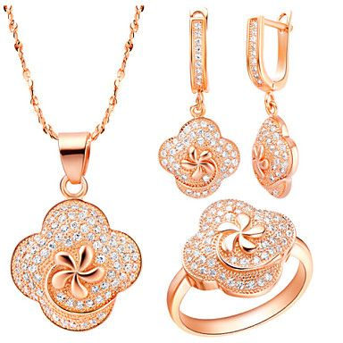 Lucky Gold Silver Plated (Necklaces&Earrings&Rings) Wedding Jewelry Sets – EUR € 38.37
