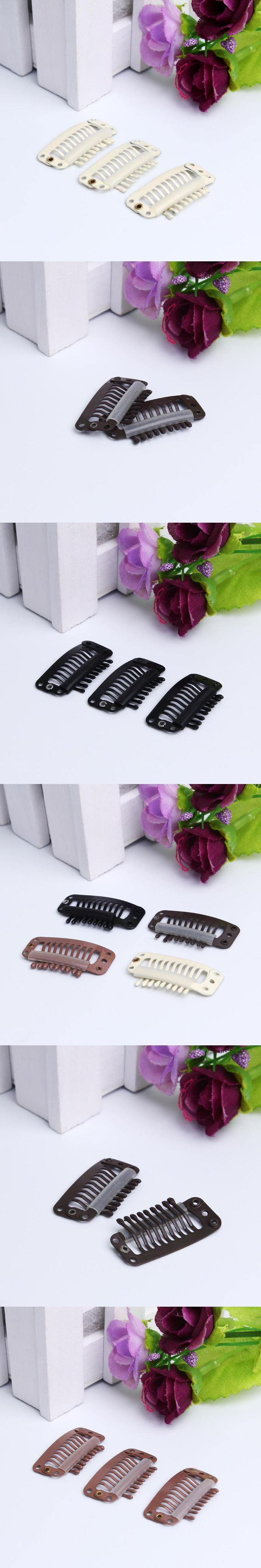 100pcs 32mm 9-teeth Hair Extension Clips Snap Metal Clips With Silicone Back For Clip in Human Hair Extensions Wig Comb Clips