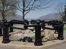 The Hudson River Chain refers to two chain booms and two chevaux de frise constructed from 1776 to 1778 during the American Revolutionary War across the Hudson River as defenses to prevent British naval vessels from sailing upriver.