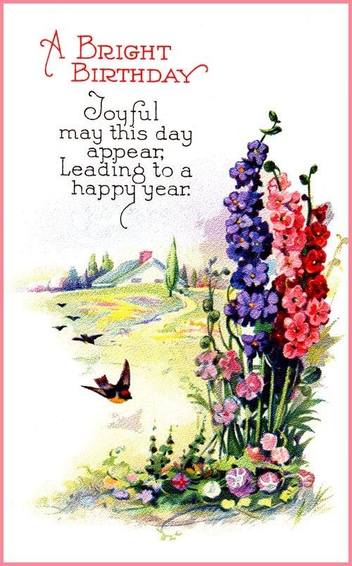 vintage birthday flowers card | Vintage Birthday Cards | Pinterest