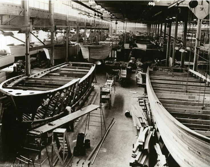 Chris Craft Factory Algonac MI Wooden Boats Boat Building 1940 Wood Boats GREAT | Boat building ...